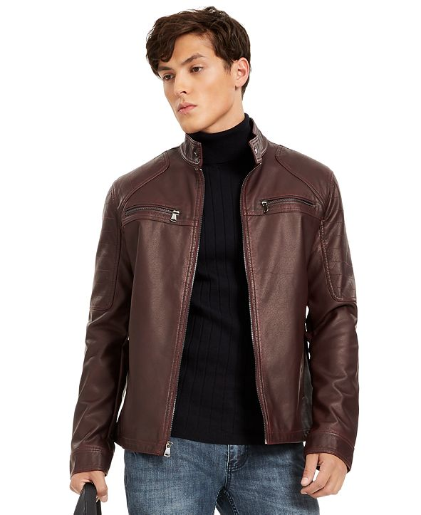 INC International Concepts INC Men's Faux Leather Moto Jacket, Created for Macy's