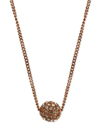 Image of Givenchy Necklace, Rose Gold-Tone Crystal Fireball Pendant Necklace