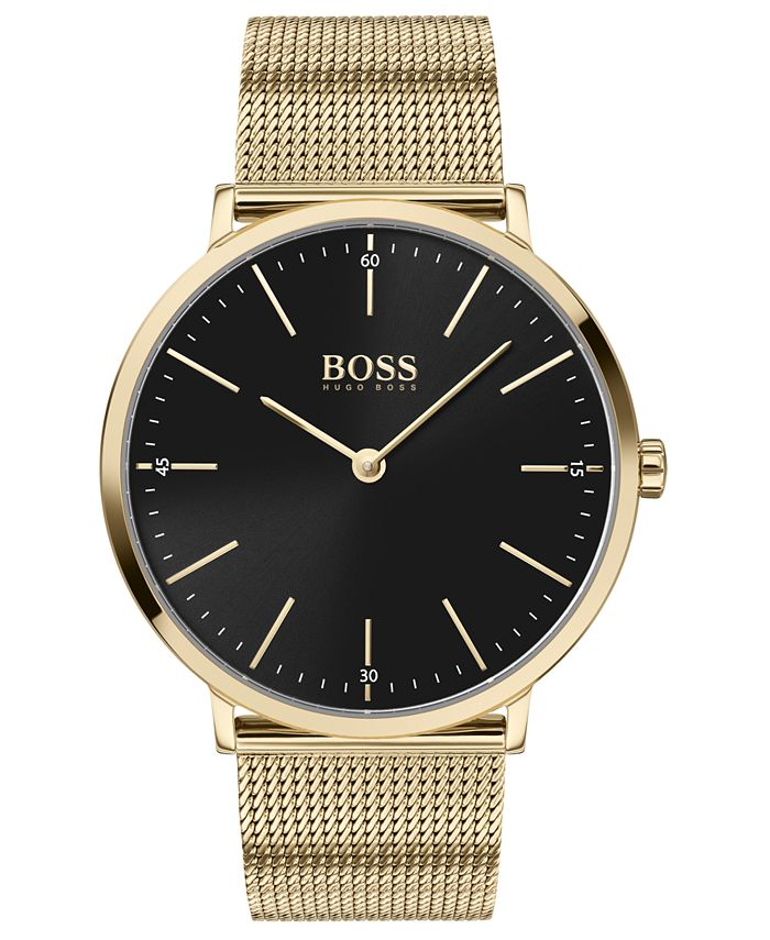 BOSS - Men's Horizon Ultra Slim Gold Ion-Plated Stainless Steel Mesh Bracelet Watch 40mm