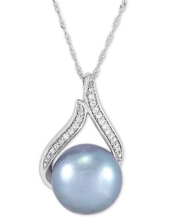 """Honora Cultured Grey Ming Pearl (12mm) & Diamond (1/10 ct. t.w.) 18"""" Pendant Necklace in 14k White Gold"""