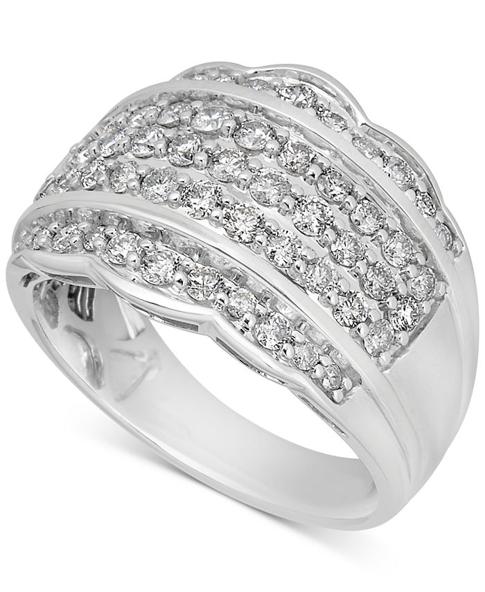 Macy's - Diamond Scalloped Edge Band (1-1/10 ct. t.w.) in 14k White Gold