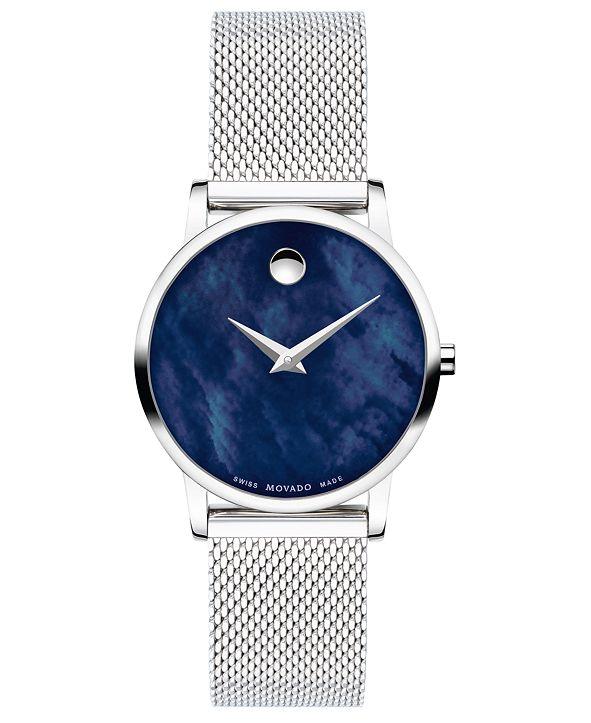 Movado Women's Swiss Museum Classic Stainless Steel Mesh Bracelet Watch 28mm