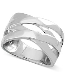 Essentials Polished Criss-Cross Ring in Fine Silver-Plate