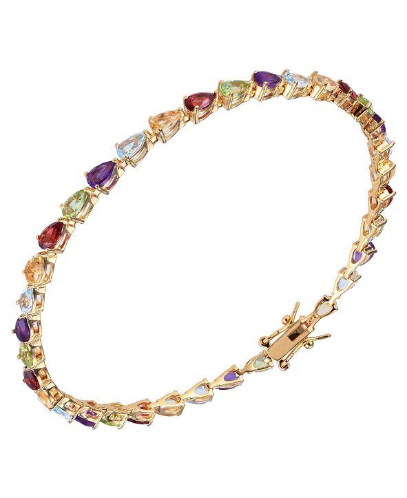 Macy's Multi Gemstone (6 ct. t.w.) Tennis Bracelet 18K Gold Over Sterling Silver