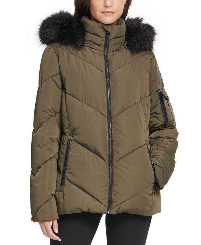 DKNY - Hooded Faux-Fur-Trim Puffer Coat