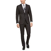 Deals on Kenneth Cole Unlisted Mens Slim-Fit Stretch Black Pindot Suit
