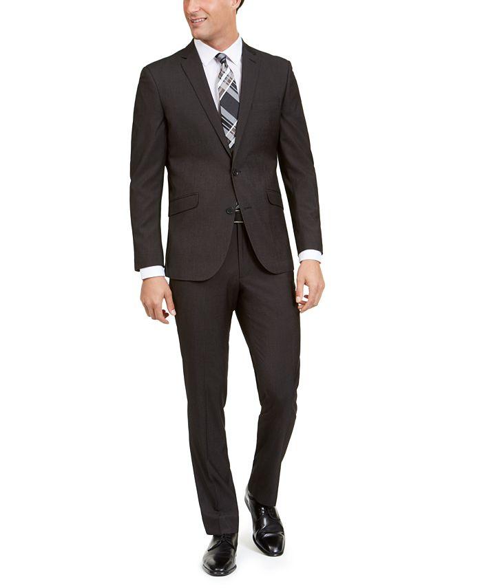 Kenneth Cole - Men's Slim-Fit Stretch Black Pindot Suit