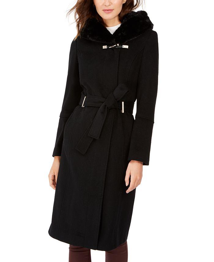 Calvin Klein - Faux-Fur-Trim Belted Hooded Coat
