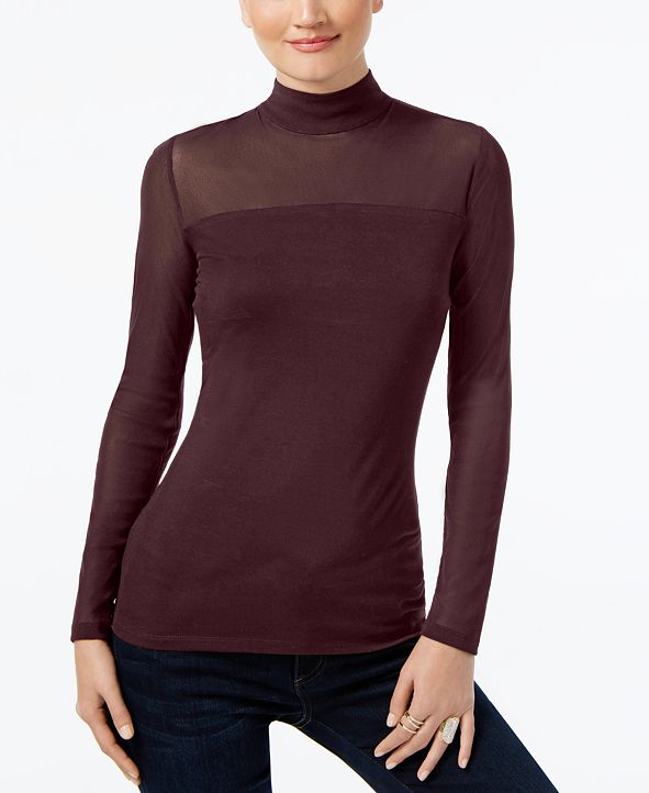 INC International Concepts INC Mock-Turtleneck Illusion Top, Created for Macy's