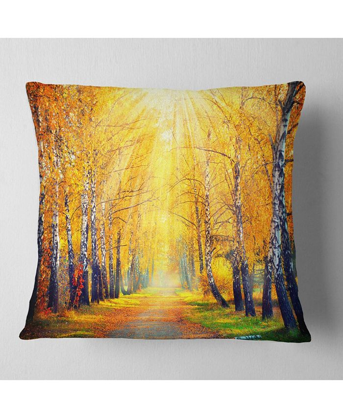 Design Art Designart Yellow Autumn Trees In Sunray Landscape Printed Throw Pillow 16 X 16 Reviews Decorative Throw Pillows Bed Bath Macy S