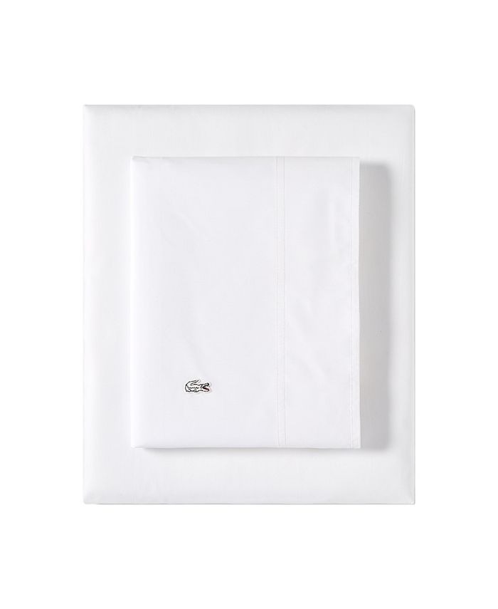 Lacoste Home - Washed Percale Solid White Queen Sheet Set