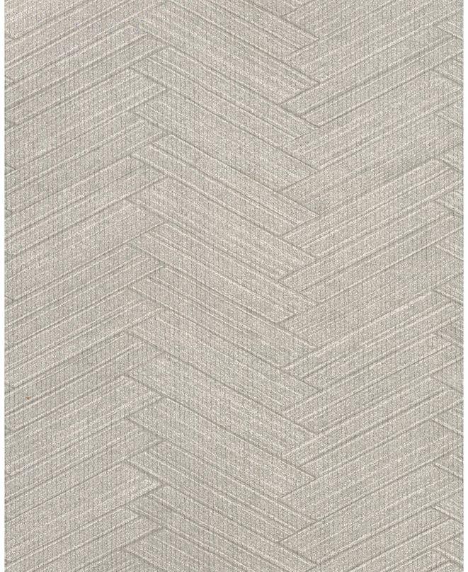 "Warner Textures 27"" x 324"" Karma Light Herringhone Weave Wallpaper"