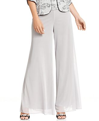 Alex Evenings Pants, Wide-Leg Chiffon