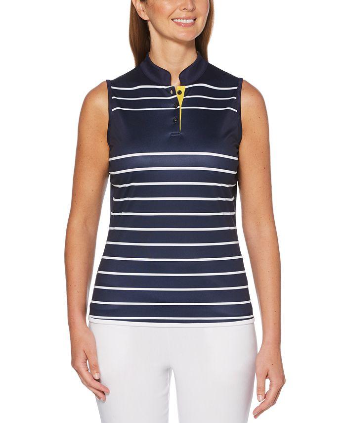 PGA TOUR - Sleeveless Striped Golf Polo