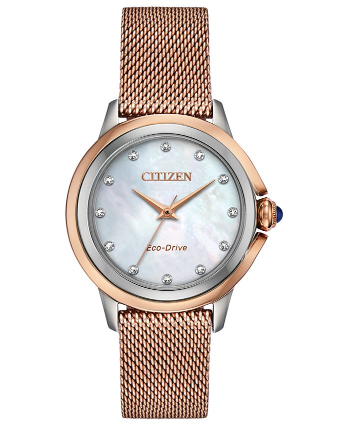 Citizen - Women's Ceci Diamond-Accent Pink Gold-Tone Stainless Steel Mesh Bracelet Watch 32mm