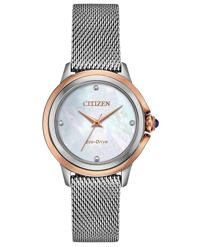 Citizen - Women's Ceci Diamond-Accent Stainless Steel Mesh Bracelet Watch 32mm