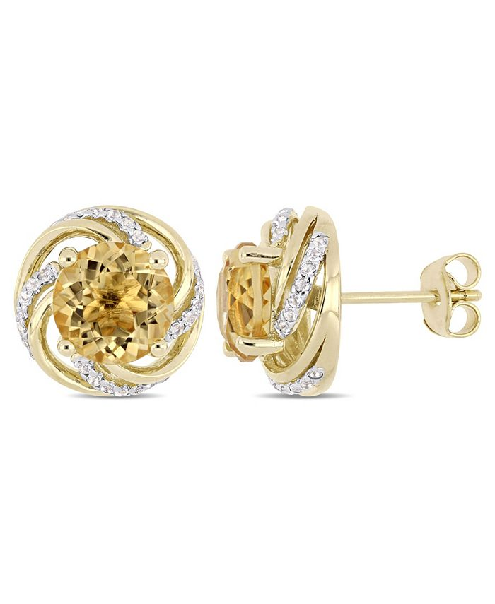 Macy's - Citrine (3-5/8 ct. t.w.) and White Topaz (1/4 ct. t.w.) Swirl Stud Earrings in 18k Yellow Gold Over Sterling Silver