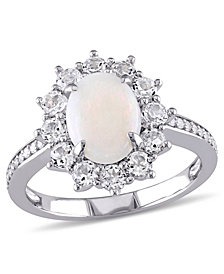Oval Cut Opal (1 ct. t.w.), White Topaz (1 ct. t.w.) and Diamond (1/10 ct. t.w.) Halo Ring in Sterling Sterling Silver