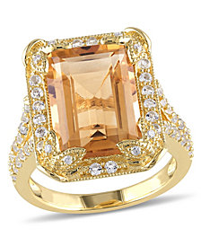 Citrine (6-1/4 ct. t.w), White Topaz (1-1/3 ct. t.w.) and Diamond Accent Halo Leaf Ring in 18k Yellow Gold Over Sterling Silver