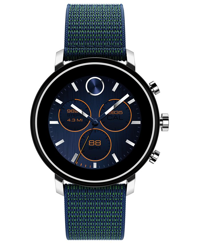Movado - Men's Connect 2.0 Navy Blue Fabric Strap Hybrid Touchscreen Smart Watch 42mm