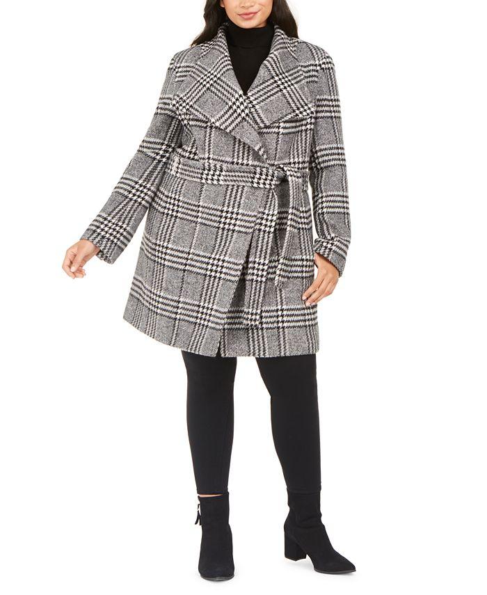 Calvin Klein - Plus Size Belted Asymmetrical Coat