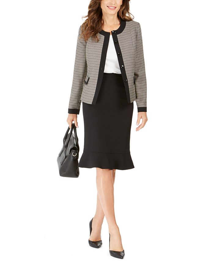 Le Suit - Tweed-Jacket Flared-Hem Skirt Suit