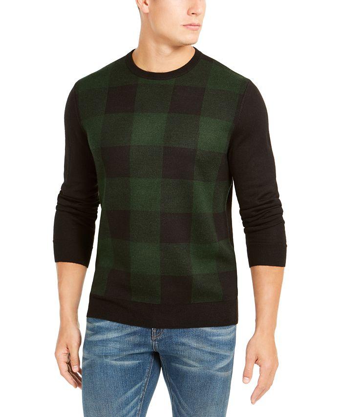 Club Room - Men's Regular-Fit Colorblocked Plaid Sweater