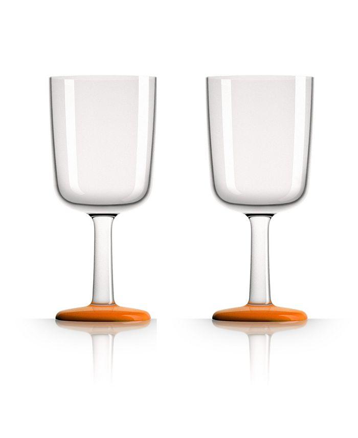 Marc Newson - Wine Glass with Orange non-slip base, Set of 2