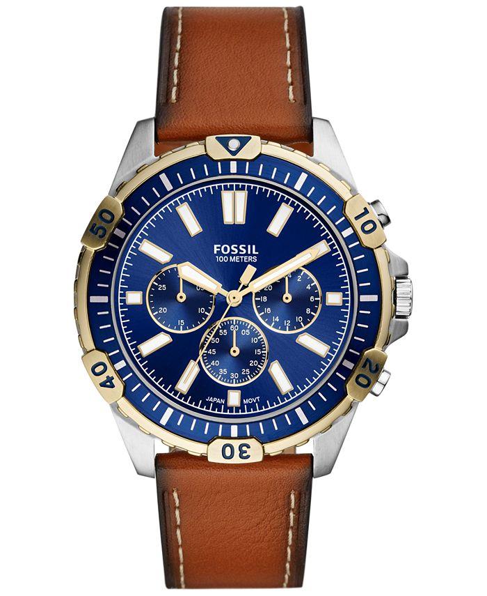 Fossil - Men's Chronograph Garrett Brown Leather Strap Watch 44mm
