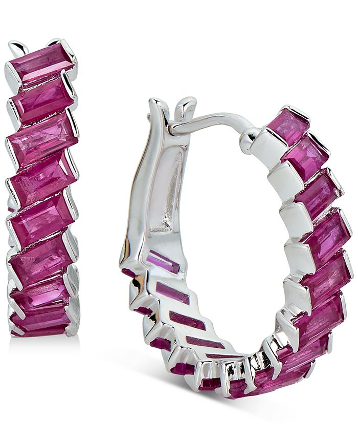 Macy's - Certified Ruby Baguette Hoop Earrings (3 ct. t.w.) in Sterling Silver(Also Available in Emerald and Sapphire)