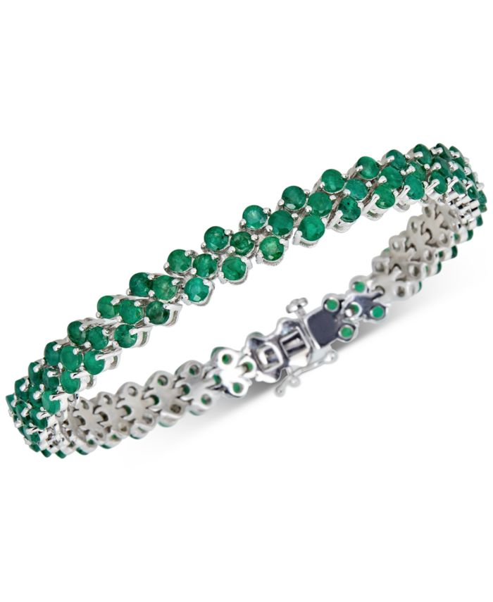 Macy's Emerald Tennis Bracelet (13 ct. t.w.) in Sterling Silver(Also Available in Sapphire) & Reviews - Bracelets - Jewelry & Watches - Macy's