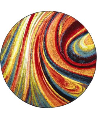 "Burst BUR01 Red 5'2"" Round Area Rug"
