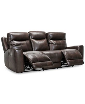 "Bitola 86"" Leather Dual Power Sofa, Created for Macy's"
