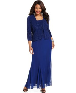 Alex Evenings Plus Size Sleeveless Glitter Gown and Jacket