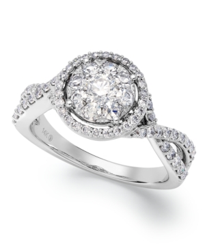 Twisted Band Diamond Engagement Ring in 14k White Gold (1 ct. t.w.)