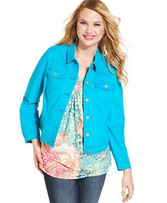 One World Plus Size Jacket, Colored Denim