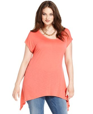 Dkny Jeans Plus Size Top Short Sleeve Handkerchief Hem