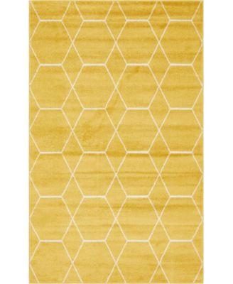 Plexity Plx1 Yellow 4' x 4' Round Area Rug