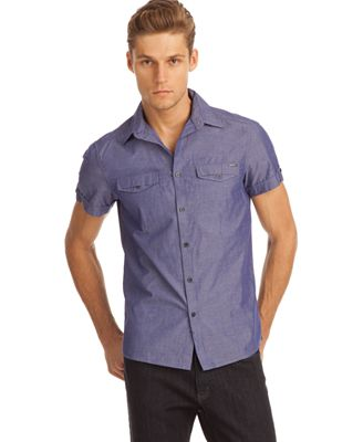 Kenneth cole new york shirt short sleeve button front for Mens double pocket short sleeve shirts