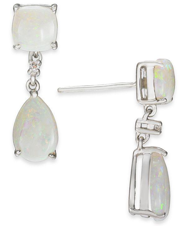 Macy's Opal (2-5/8 ct. t.w.) & Diamond Accent Drop Earrings in Sterling Silver