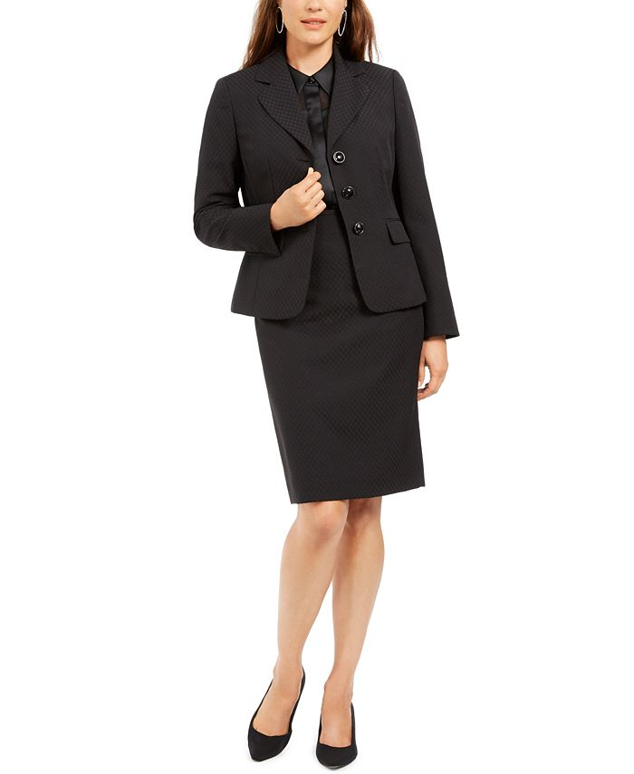 Le Suit - Notched-Lapel Embossed Skirt Suit