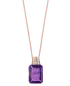 Effy Amethyst (12-1/3 ct. t.w.) and Diamond (1/10 ct. t.w.) Pendant Necklace in 14k Rose Gold (Also Available In Green Quartz and Citrine)