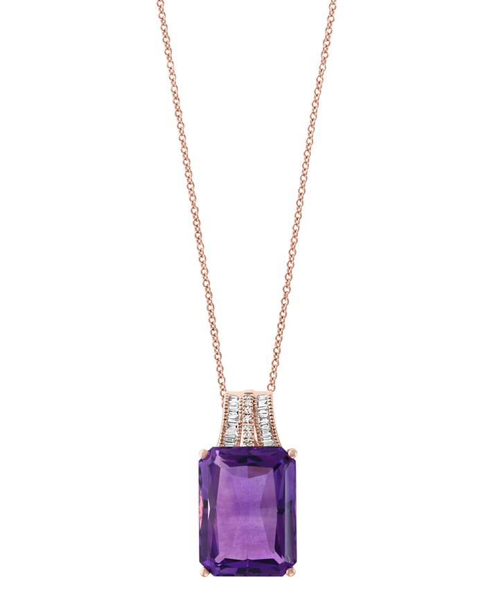 EFFY Collection - Effy Amethyst (12-1/3 ct. t.w.) and Diamond (1/10 ct. t.w.) Pendant Necklace in 14k Rose Gold (Also Available In Green Quartz and Citrine)