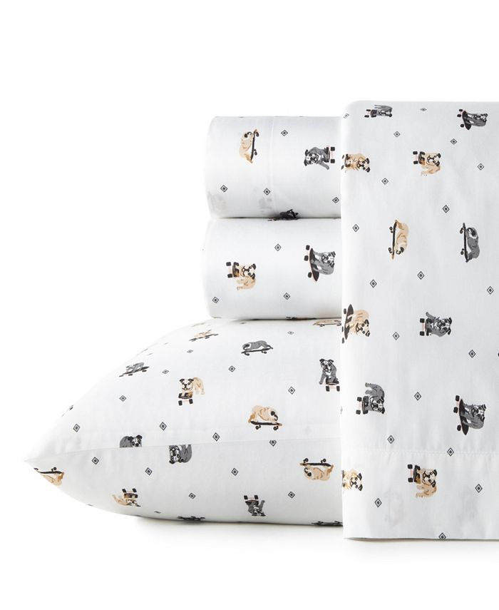 Poppy & Fritz - Poppy Fritz Skateboarding Bulldogs Queen Sheet Set