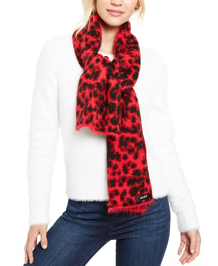 DKNY - Fuzzy Animal Print Knit Scarf