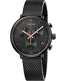 Calvin Klein Unisex Chronograph High Noon Black PVD Stainless Steel Mesh Bracelet Watch 43mm