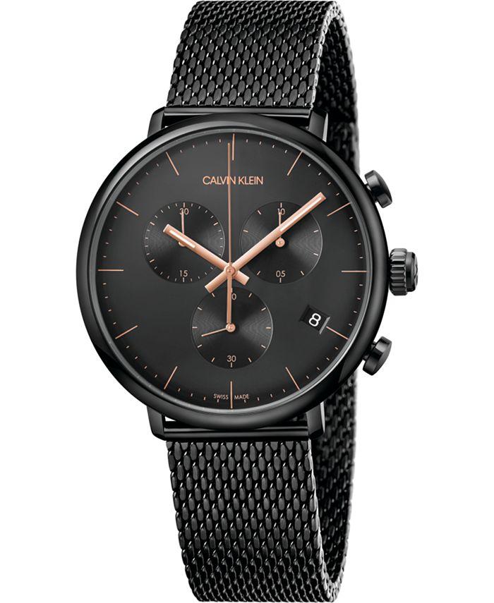 Calvin Klein - Unisex Chronograph High Noon Black PVD Stainless Steel Mesh Bracelet Watch 43mm