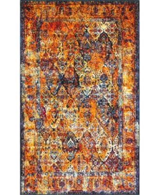 Mishti Mis1 Orange 5' x 8' Area Rug