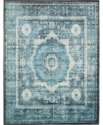 Linport Lin7 Turquoise 2' x 6' Runner Area Rug