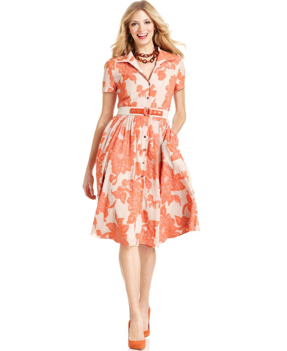 Jones New York Dress, Short Sleeve Floral Print Shirt Dress   Dresses   Women